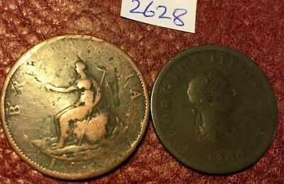 2 Antique George Iii Copper Halfpennies Dated 1799 And 1806 - Job Lot 2628