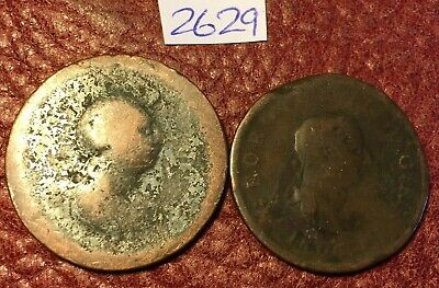 2 Antique George Iii Copper Halfpennies Dated 1799 And 1806 - Job Lot 2629