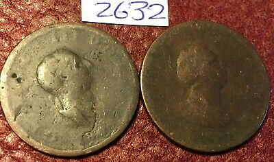 2 Antique George Iii Copper Halfpennies Dated 1799 And 1806 - Job Lot 2632