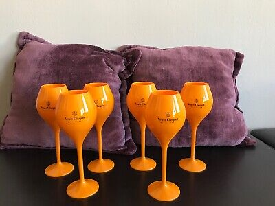Veuve Clicquot VCP Yellow Label Acrylic Flute Glass. Brand New Set of 6