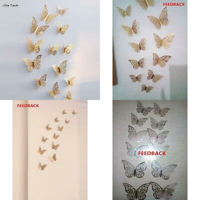 New 12 Pcs 3D Hollow Wall Stickers Butterfly Fridge  for Home Decoration Maripos