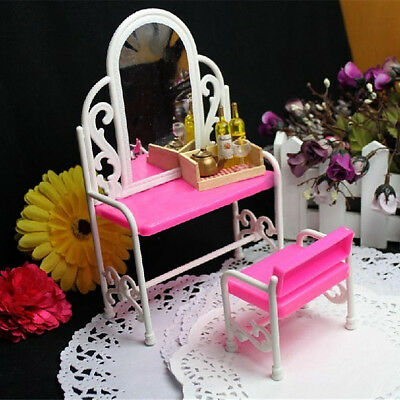 GC- HK- Dressing Table Chair Accessories Set For Barbies Dolls Bedroom Furniture