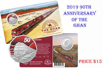 2019 50c 90th Anniversary of The Ghan Coloured Uncirculated Coin