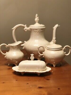 Luxurious LOMA tea set butter dish and salt  pepper teapot creamer sugar signed mid-century white with gold motif