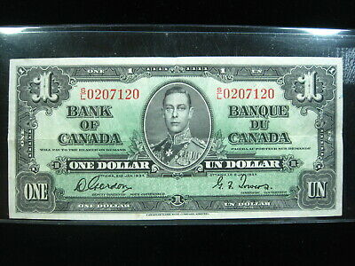 Canada $1 Dollar 1937 P58 Canadian 30# Bank Currency Money Banknote