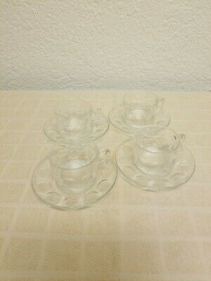 Arcoroc Glass Cups And Saucers, France, Set Of 4
