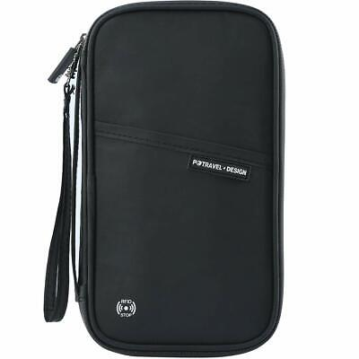 RFID Blocking Travel Passport Wallet Family Passport Holder W/Hand Strap Black