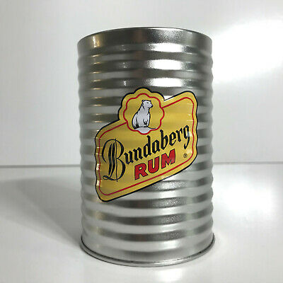 Bundaberg Rum Corrugated Metal Can Cooler Stubby Holder Bear Two - Glass Cap