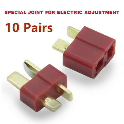 10 Pairs T Plug Male & Female Power Supply Connectors Deans For RC LiPo Battery