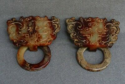 Chinese Exquisite Hand carved Hetian jade Knocker a pair