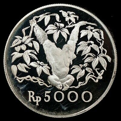 1974 Indonesia 5000 Rupiah Conservation Orangutan .925 Silver Coin 17k Minted