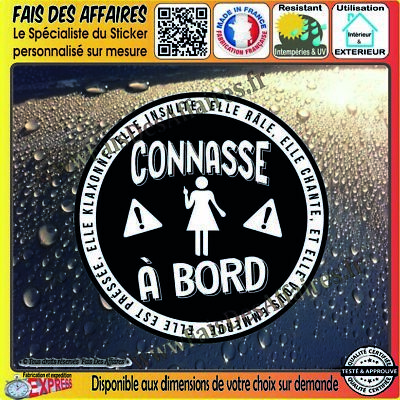 Stickers Autocollant adhésif connasse à bord humour decal danger