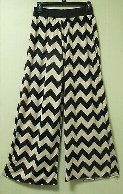 Hot Gal Geometric Print Knit Pull On Wide Leg Palazzo Pants Size M Black & Beige