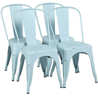 "18"" Iron Metal Dining Chairs Stackable Side Chairs with Back Bar Chairs Set of 4"