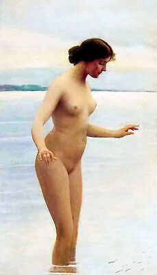 Oil painting eugene de blaas Nude young woman bathing swimming fish Hand painted