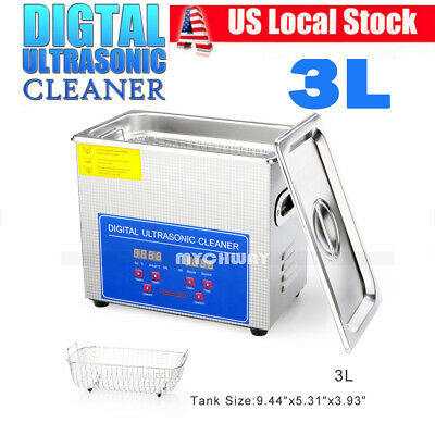 Stainless Steel 3Liter Industry Heated Ultrasonic Cleaner Sonic Heater w/Timer