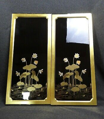 Japanese Vintage Lacquered Buddhist Butsudan Large Panels Wood Gold Gilt Pair