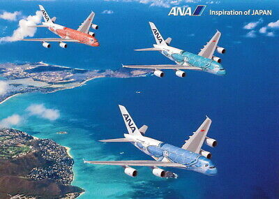 Ana All Nippon Airways Latest A380-841 Flying Honu(Turtles) 3 In 1 Postcard