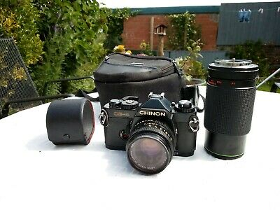 Chinon CE-4 35mm SLR, 50mm lenses case and extras