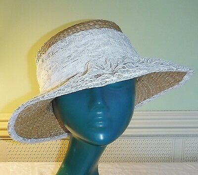 *Vintage Classical Natural Woven Straw Hat Sash Brim In Cream Lace Wedding Races