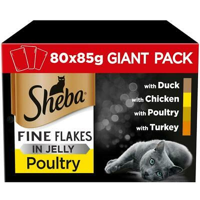 80 x 85g Sheba Fine Flakes Adult Cat Food Pouches Mixed Poultry in Jelly