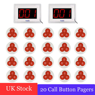 2*TIVDIO Restaurant Wireless Calling Paging System Pagers Convenience 433MHz UK