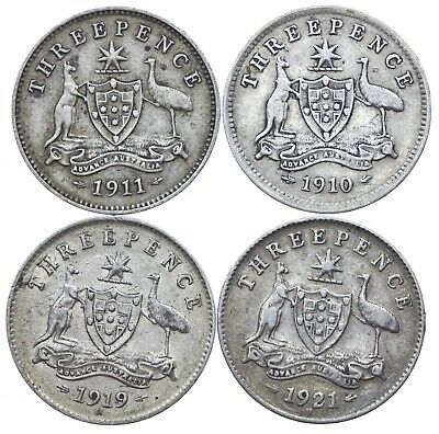 Australia, Collection Of Threepence, 4 Coins, Silver, 1910-1921