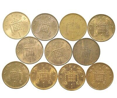 Great Britain, Decimal 1P One Pence Set, 11 Coins, Near Unc, 1971-2000