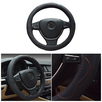 Black&Red 38cm Genuine Leather Car Steering Wheel Cover Breathable Non-Slip Grip
