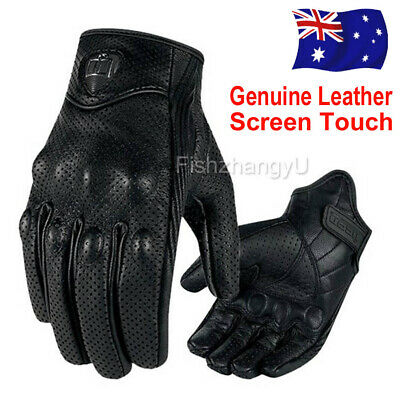 Men's Short Motorcycle Cruiser Summer Leather Gloves with Knuckle protection NEW