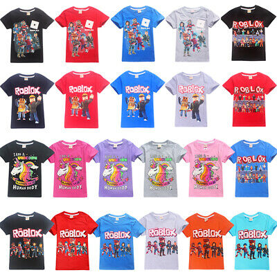 Kids Roblox Figure Game T-shirt Cartoon Short Sleeve Tops Summer Casual Costumes