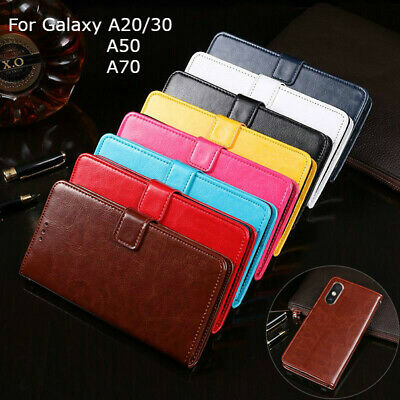 For Samsung Galaxy A20 A30 A50 A70 Leather Wallet Flip Case Card Slot Cover