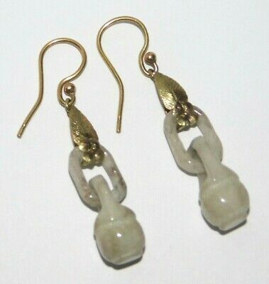 Fine, Antique, Chinese 9Ct Gold Qing Dynasty Carved Celadon Pale Jade Earrings 玉