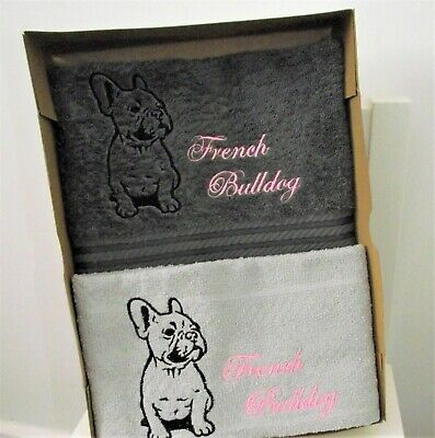 Embroidered  French bulldog  tea towel and guest towel gift set