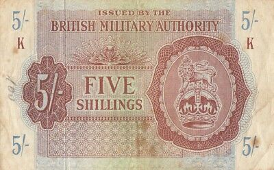British Military Authority 5 shillings (1943) P-M4 UK Britain England LOT 1  VF