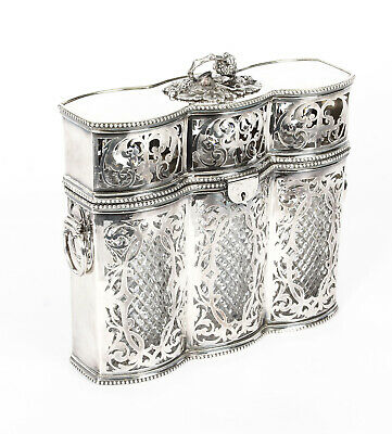 Antique Victorian English Silver Plated 3 Bottle Tantalus C1880 19th Century