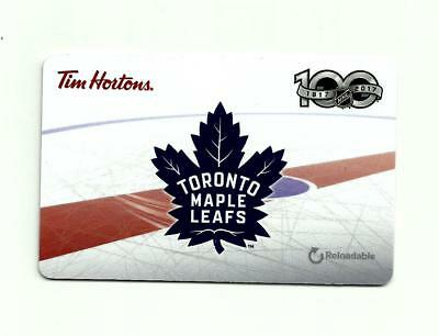 Tim Hortons Reloadable Quickpay Gift Card Toronto Maple Leafs 100Th Anniversary