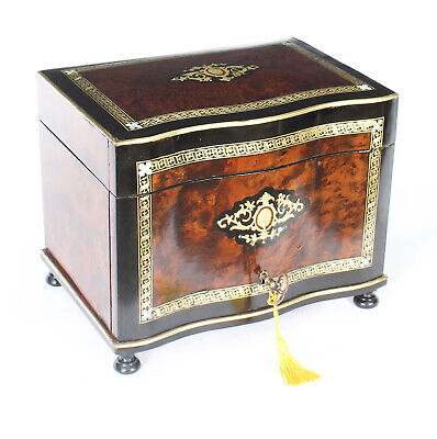Antique  Burr Walnut & Boule Serpentine Cigar Humidor c.1870