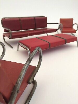 Rare 1930s modernist furniture small scale set with settee chairs and bench seat