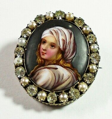 Antique Brooch with a Female Figure Painted on Porcelain