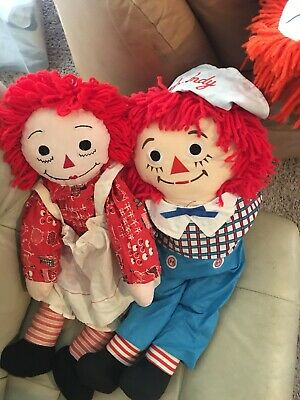 7 Raggedy  Ann and Raggedy Andy old dolls 2 Lamps One Pillow And One Shoe