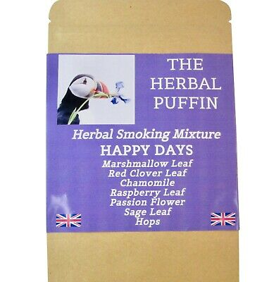"""HERBAL PUFFIN. SMOKING BLEND MIX 50g POUCH """"HAPPY DAYS"""". NICOTINE TOBACCO FREE"""