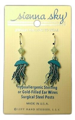 Blue JELLYFISH Hypo-Allergenic Earrings, Sterling Silver Plated, by Sienna Sky