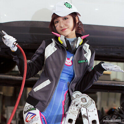 Overwatch DVA Jacket Shooting Star Cosplay Costume Dress OW Coat Cap D.Va Outfit