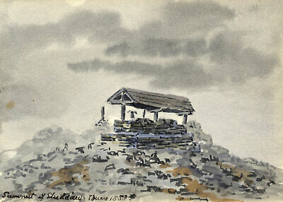 Rosa E. Neumann, Summit Cairn, Skiddaw, Lake District -1888 watercolour painting