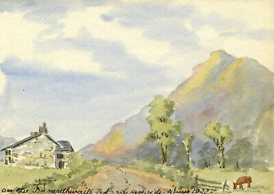 Rosa E. Neumann, On the Bassenthwaite Road, Keswick - 1888 watercolour painting