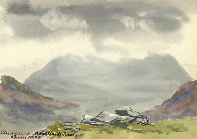 Rosa E. Neumann, Skiddaw from Ambleside Road - 1888 watercolour painting