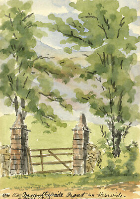 Rosa E. Neumann, Entrance Gate, Bassenthwaite Road, Keswick - 1888 watercolour