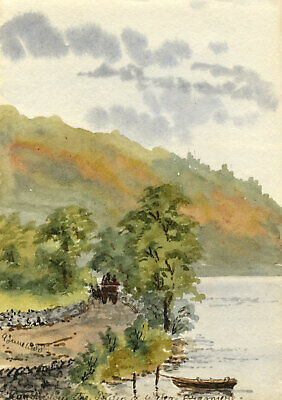 Rosa E. Neumann, Road from Prince of Wales Hotel, Grasmere - 1888 watercolour