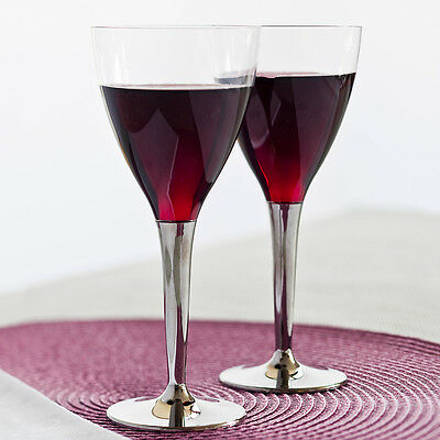 Sabert Mozaik Plastic Disposable Wine Glasses with Silver Stem